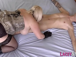Brit granny domina rides and gets ass romped