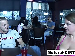 Messy blonde Mummy gets fucked in a restaurant