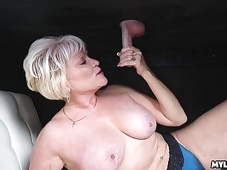 Cum on This MILFS Knockers at the Milking Table