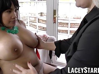 LACEYSTARR  Business GILF tongue examines young pussy