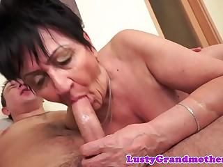 Dicksucking grandma rides huge cock
