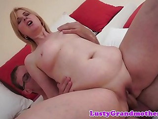Busty granny doggystyled after cockriding