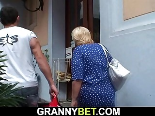 He helps blond old grandma