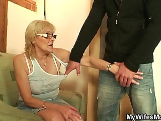 Thin old mother in law taboo cock riding