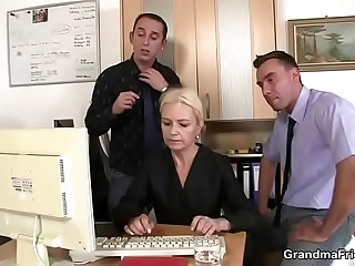 Granny guzzles two cocks at job interview