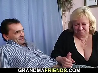 Big-titted granny 3 way sex