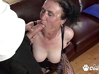 Busty cockblowers granny sitting on fat cock and facialized