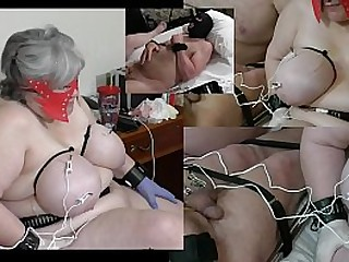 Granny has her udders shocked while a male slave gets his testicles also shocked