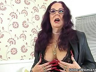 Hard nippled granny Zadi from the UK is giving her old fanny the dildo treatment. Bonus video: UK granny Georgie Nylons.
