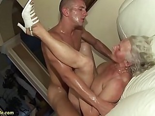 busty wooly 75 years old granny mom likes her first rough porn flick with a young toyboy