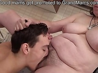 Bossy granny enjoys a young hard-on