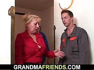 Fat tits blonde granny threesome fuck