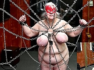 Granny submissive has her tits tortured while tied to a web of chain (2020.02.29) (sklavin esclave soumise)