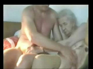 Very old granny used by young man. Real fledgling