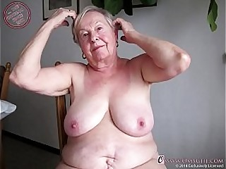 Extremely old granny showing off mature wrinkles
