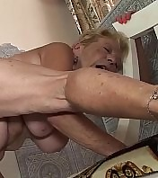 extreme S/M big platinum-blonde 89 years old granny loves to fuck with her big cock toyboy