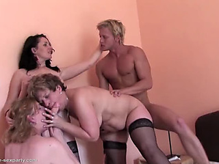 Taboo home sex with three aged mamas and son