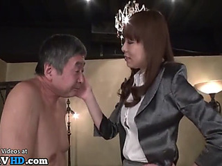Japanese old stud enjoys coarse sex
