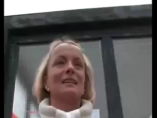 Sexy blond mama drilled outdoor