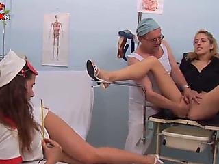 Hawt women swallow an old man's pee after a three-way