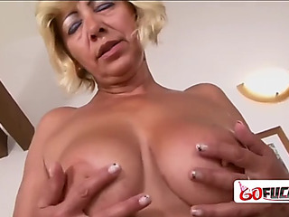 Lewd goldenhaired granny receives a large darksome knob for the 1st time ever
