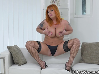 Redhead mother i'd like to fuck Alex disrobes off and fingers her older cumhole