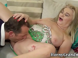 Fetish gran feet licked before pounding