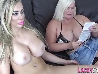 Lesbian grandmother rims and gets slurped
