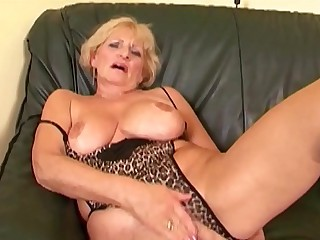 Grandma Puts On Her Sexiest Lingerie &amp_ Drains Two Young Dicks