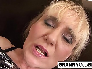 Light-haired mature takes a facial after an interracial anal pounding