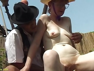 german furry granny outdoor fucked with huge turnip
