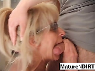 Mature blonde slut receives an assfuck fucking